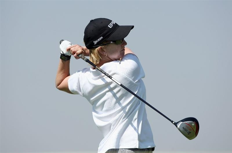 MORELIA, MEXICO- APRIL 24:  Karrie Webb of Australia tees off the 9th hole during the second round of the 2009 Corona Championship, part of the LPGA Tour, on April 24, 2009 at the Tres Marias Golf Club in Morelia, Michoacan, Mexico. (Photo by Donald Miralle/Getty Images)