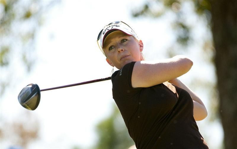 ROGERS, AR - SEPTEMBER 12:  Morgan Pressel makes a tee shot on the second hole during the final round of the P&G NW Arkansas Championship at the Pinnacle Country Club on September 12, 2010 in Rogers, Arkansas.  (Photo by Robert Laberge/Getty Images)
