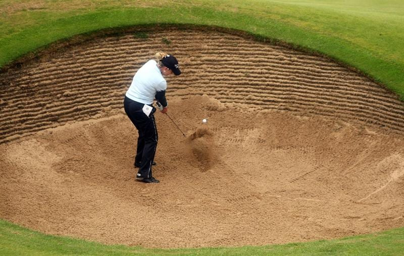 LYTHAM ST ANNES, ENGLAND - JULY 29:  Cristie Kerr of the USA plays out a bunker during practice prior to the 2009 Ricoh Women's British Open Championship held at Royal Lytham St Annes Golf Club, on July 29, 2009 in Lytham St Annes, England.  (Photo by Warren Little/Getty Images)