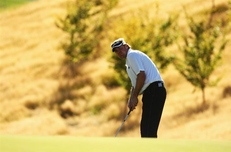 QUEENSTOWN, NEW ZEALAND - MARCH 15:  Richard Johnson of Wales putts on the 17th hole during day four of the New Zealand Men's Open Championship at The Hills Golf Club on March 15, 2009 in Queenstown, New Zealand.  (Photo by Phil Walter/Getty Images)