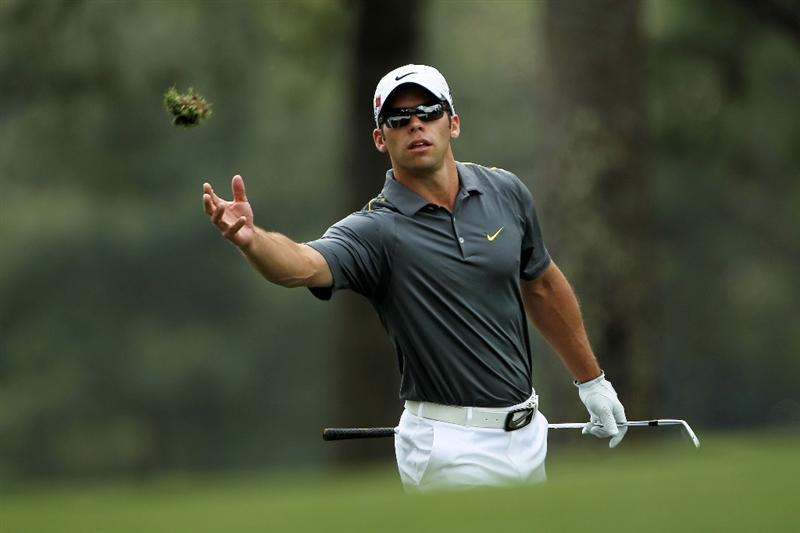 AUGUSTA, GA - APRIL 09:  Paul Casey of England tosses a divot on the first hole fairway during the third round of the 2011 Masters Tournament at Augusta National Golf Club on April 9, 2011 in Augusta, Georgia.  (Photo by Jamie Squire/Getty Images)