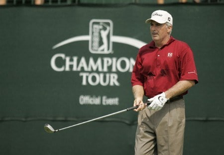 Champions Tour: Constellation Energy Classic: 2nd Round: Curtis Strange on the 10th hole during the second round of the Constellation Energy Classic being held at Hayfields Country Club in Hunt Valley, Maryland on September 17, 2005.Photo by Mike Ehrmann/WireImage.com