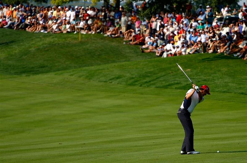 LEMONT, IL - SEPTEMBER 12:  Padraig Harrington of Ireland hits his approach shot on the 16th hole during the third round of the BMW Championship held at Cog Hill Golf & CC on September 12, 2009 in Lemont, Illinois.  (Photo by Scott Halleran/Getty Images)