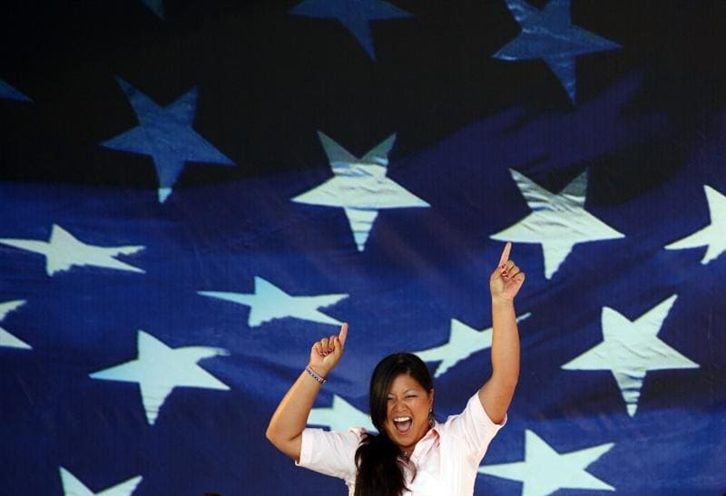 SUGAR GROVE, IL - AUGUST 20: Christina Kim of the USA team during the Opening Ceremony for the 2009 Solheim Cup Matches, at the Rich Harvest Farms Golf Club on August 18, 2009 in Sugar Grove, Ilinois  (Photo by David Cannon/Getty Images)