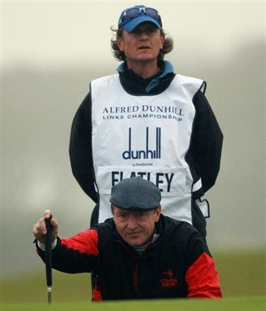 KINGSBARNS, SCOTLAND - OCTOBER 08:  Michael Flatley, creator of Lord of the Dance, in action during the second round of The Alfred Dunhill Links Championship at Kingsbarns Golf Links on October 8, 2010 in Kingsbarns, Scotland.  (Photo by Andrew Redington/Getty Images)