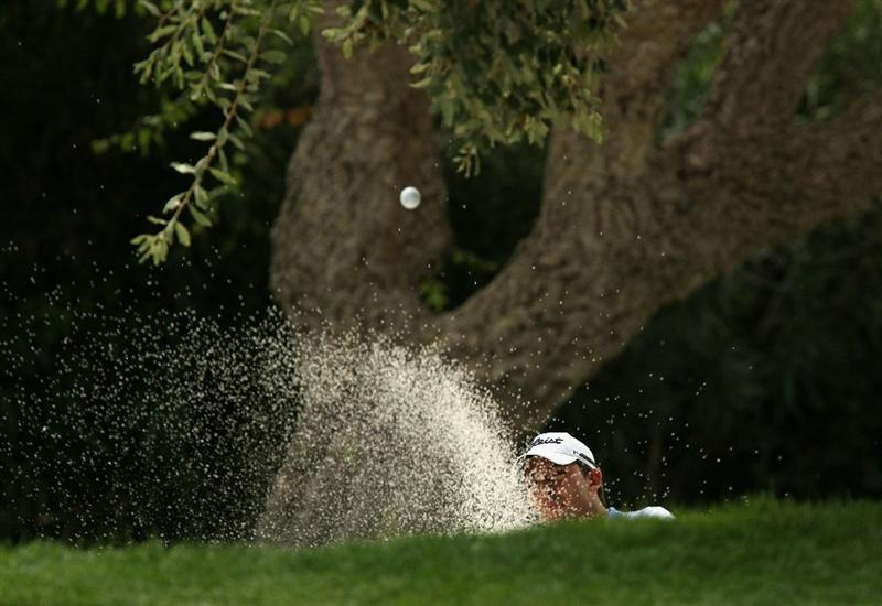 SOTOGRANDE, SPAIN - OCTOBER 29:  Pablo Larrazabal of Spain plays from a greenside bunker on the 5th during the second round of the Andalucia Valderrama Masters at Club de Golf Valderrama on October 29, 2010 in Sotogrande, Spain.  (Photo by Richard Heathcote/Getty Images)