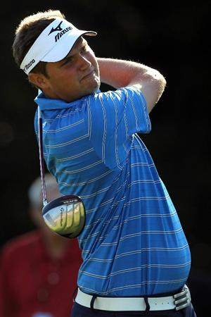 NORTON, MA - SEPTEMBER 04:  Jeff Overton hits a shot on the 14th hole during the second round of the Deutsche Bank Championship at TPC Boston on September 4, 2010 in Norton, Massachusetts.  (Photo by Mike Ehrmann/Getty Images)