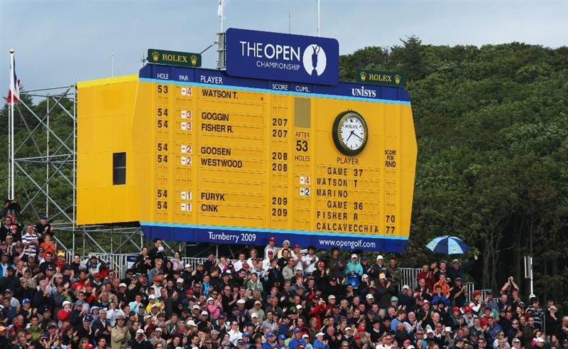 TURNBERRY, SCOTLAND - JULY 18:  General View of the Leaderboard on the 18th hole during round three of the 138th Open Championship on the Ailsa Course, Turnberry Golf Club on July 18, 2009 in Turnberry, Scotland.  (Photo by David Cannon/Getty Images)