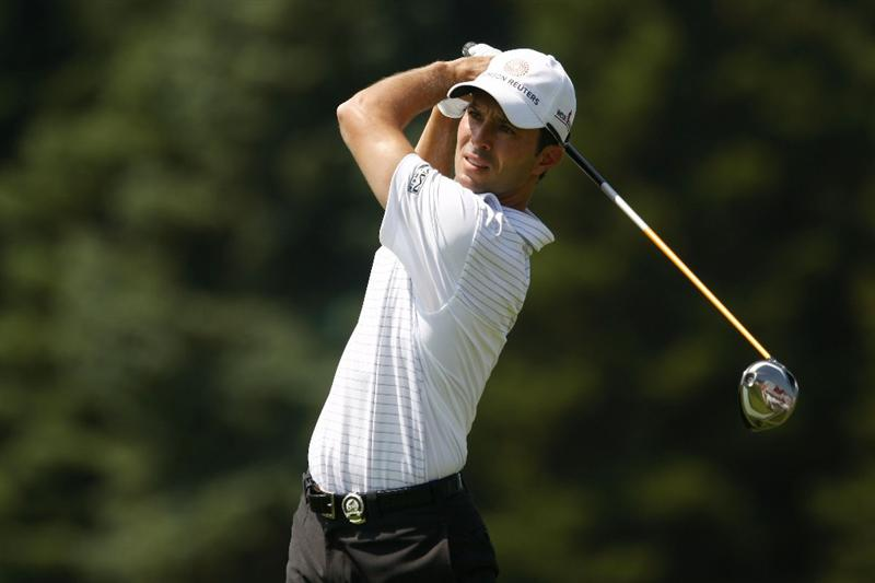 CHASKA, MN - AUGUST 11:  Mike Weir of Canada hits a tee shot during the second preview day of the 91st PGA Championship at Hazeltine National Golf Club on August 11, 2009 in Chaska, Minnesota.  (Photo by Scott Halleran/Getty Images)
