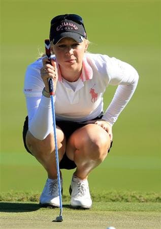 WEST PALM BEACH, FL - NOVEMBER 20:  Morgan Pressel lines up a putt on the second green during the first round of the ADT Championship at the Trump International Golf Club on November 20, 2008 in West Palm Beach, Florida.  (Photo by Scott Halleran/Getty Images)