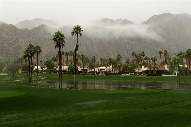 LA QUINTA, CA - JANUARY 21:  A view of course conditions and storm clouds over the mountains on the Palmer Private Course at PGA West before the rain delayed second round of the Bob Hope Classic on January 21, 2010 in La Quinta, California.  (Photo by Stephen Dunn/Getty Images)