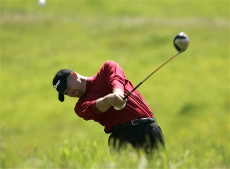 LIVERMORE, CA - APRIL 03:   Joel Kribel hits his tee shot off the 6th tee during the first round of the 2008 Livermore Valley Wine Country Championship on April 03, 2008 at the Wente Vineyard in Livermore, California. (Photo By Kent Horner/ Getty Images)