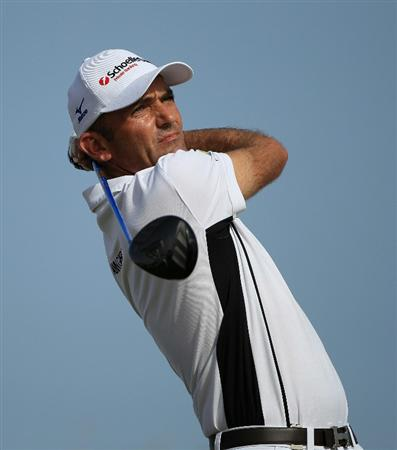 DOHA, QATAR - FEBRUARY 05:  Markus Brier of Austria hits his tee-shot on the 11th hole during the third round of the Commercialbank Qatar Masters held at Doha Golf Club on February 5, 2011 in Doha, Qatar.  (Photo by Andrew Redington/Getty Images)