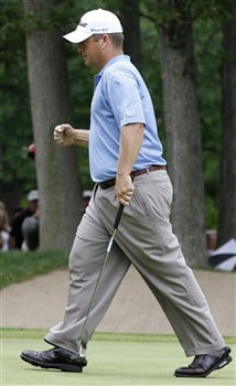 GRAND BLANC, MI - JUNE 29: Dudley Hart reacts after making birdie on the eighth hole during the final round of the Buick Open at Warwick Hills Golf and Country Club on June 29, 2008 in Grand Blanc, Michigan.  (Photo by Gregory Shamus/Getty Images)