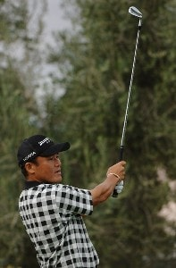 Shigeki Maruyama tees off the par three 14th during the third round of the Frys.com Open on Saturday, October 14, 2006 at the TPC Summerland in Las Vegas, Nevada PGA TOUR - 2006 Frys.com Open - Third Round Photo by Marc Feldman/WireImage.com