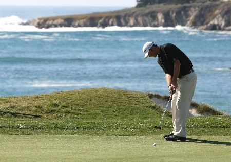 PEBBLE BEACH, CA - FEBRUARY 09:  Dustin Johnson makes a birdie putt on the fourth hole during the third round of the At&T Pebble Beach National Pro-Am at Pebble Beach Golf Links on February 9, 2008 in Pebble Beach, California.  (Photo by Jed Jacobsohn/Getty Images)