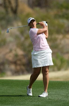 PHOENIX, AZ - MARCH 19:  Angela Stanford hits her second shot on the seventh hole during the second round of the RR Donnelley LPGA Founders Cup at Wildfire Golf Club on March 19, 2011 in Phoenix, Arizona.  (Photo by Stephen Dunn/Getty Images)