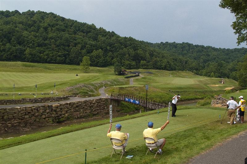 BRIDGEPORT, WV - JUNE 28: Esteban Toledo of Mexico prepares to tee off on the first hole during the final round of the Nationwide Tour Players Cup at Pete Dye Golf Club on June 28, 2009 in Bridgeport, West Virginia. (Photo by Chris Keane/Getty Images)