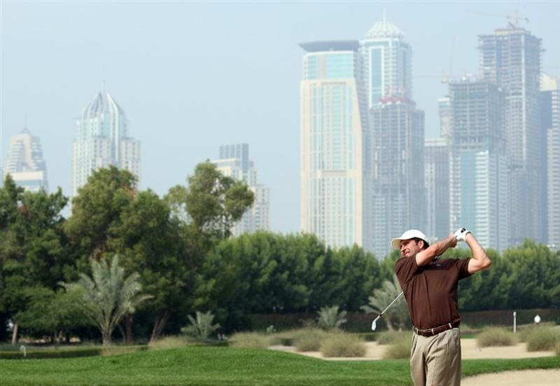 DUBAI, UNITED ARAB EMIRATES - JANUARY 28:  Jose Maria Olazabal of Spain on the par five 10th hole during the pro-am event prior to the Dubai Desert Classic on the Majlis Course on January 28, 2009 in Dubai, United Arab Emirates.  (Photo by Ross Kinnaird/Getty Images)