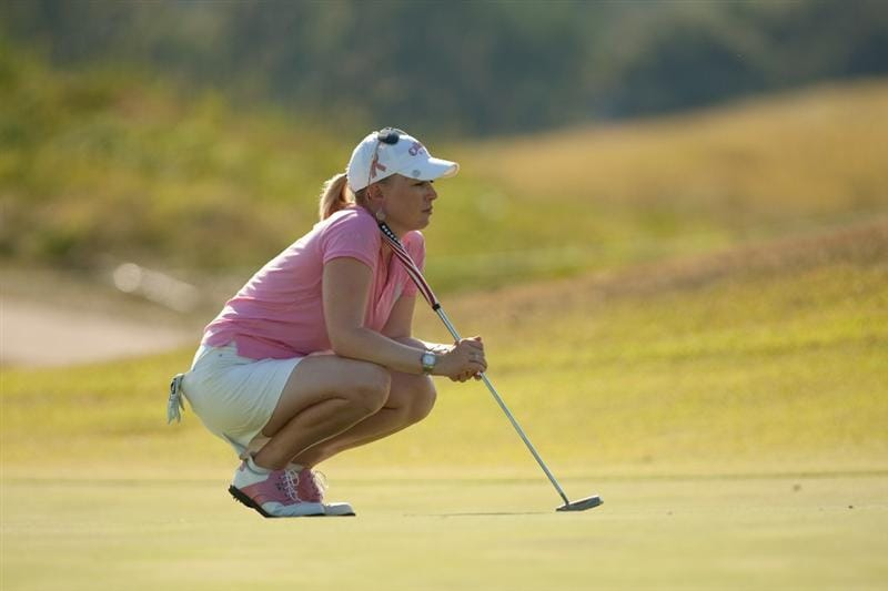 PRATTVILLE, AL - OCTOBER 8:  Morgan Pressel lines up a putt during the second round of the Navistar LPGA Classic at the Senator Course at the Robert Trent Jones Golf Trail  on October 8, 2010 in Prattville, Alabama. (Photo by Darren Carroll/Getty Images)