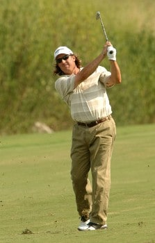 Brenden Pappas hits from the 8th fairway during the first round of the 2005 Valero Texas Open at La Cantera in at La Cantera Country Club in San Antonio, Texas September 22, 2005.Photo by Steve Grayson/WireImage.com