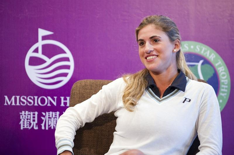 HAIKOU, CHINA - OCTOBER 28:  Spanish golfer Belen Mozo attends a press conference during the Mission Hills Star Trophy on October 28, 2010 in Haikou, China. The Mission Hills Star Trophy is Asia's leading leisure liflestyle event and features Hollywood celebrities and international golf stars.  (Photo by Victor Fraile/Getty Images)