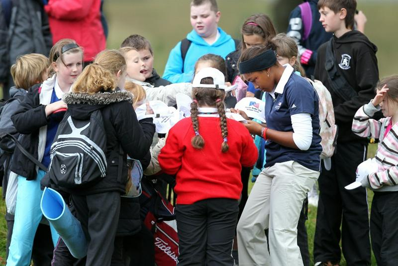 GLENEAGLES, SCOTLAND - SEPTEMBER 28:  Ginger Howard signs autographs for fans during the second day of play at the Junior Ryder Cup at Gleneagles on September 28 2010 near Muirton, Scotland. (Photo by Ian MacNicol/Getty Images)