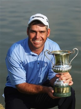 MILAN, ITALY - MAY 11:  Hennie Otto of South Africa poses with the trophy after winning the MC Methorios Capital Italian Open Golf at The Castello Di Tolcinasco Golf Club on May 11, 2008 in Milan, Italy.  (Photo by Stuart Franklin/Getty Images)