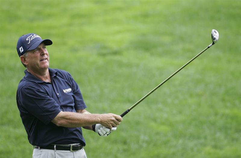 TIMONIUM, MD - OCTOBER 02:  Jay Haas watches his tee shot on the seventh hole during the second round of the Constellation Energy Senior Players Championship at Baltimore Country Club/Five Farms (East Course) held on October 2, 2009 in Timonium, Maryland  (Photo by Michael Cohen/Getty Images)