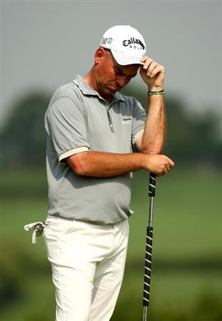 NEWPORT, WALES - JUNE 05:  Thomas Bjorn of Denmark rests on his putter during the second round of the Celtic Manor Wales Open on the 2010 Course at The Celtic Manor Resort on June 5, 2009 in Newport, Wales.  (Photo by Richard Heathcote/Getty Images)