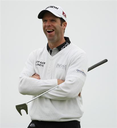 CARNOUSTIE, SCOTLAND - OCTOBER 02:  Bradley Dredge of Wales smiles on the 16th hole during the second round of The Alfred Dunhill Links Championship at Carnoustie Golf Club on October 2, 2009 in Carnoustie, Scotland.  (Photo by Andrew Redington/Getty Images)