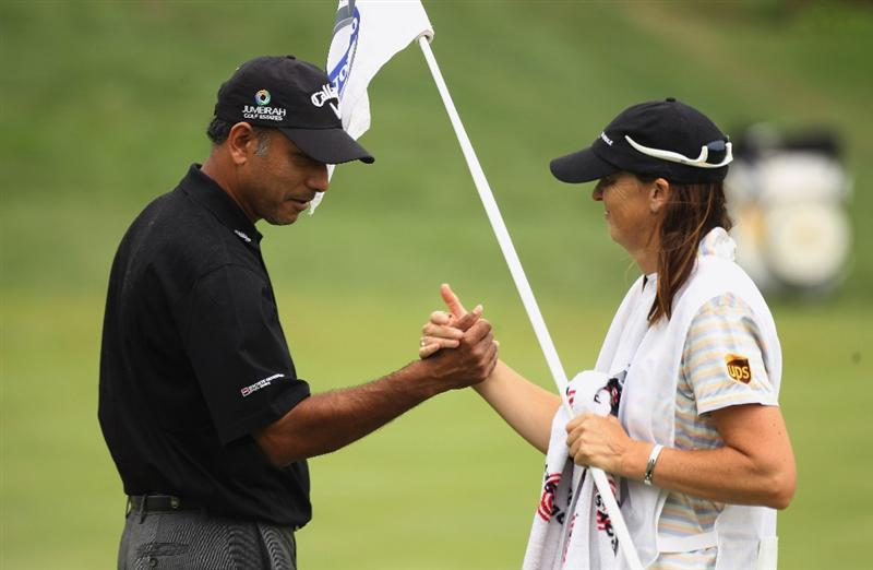 CHENGDU, CHINA - APRIL 21:  Jeev Milkha Sing of India celebrates on the 9th hole during first round of the Volvo China Open at Luxehills Country Club on April 21, 2011 in Chengdu, China.  (Photo by Ian Walton/Getty Images)