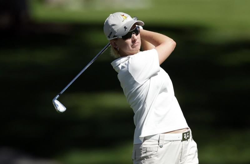 RANCHO MIRAGE, CA - MARCH 30:  Karrie Webb of Australia in action during the pro-am for the 2011 Kraft Nabisco Championship on the Dinah Shore Championship Course at the Mission Hills Country Club on March 30, 2011 in Rancho Mirage, California.  (Photo by David Cannon/Getty Images)