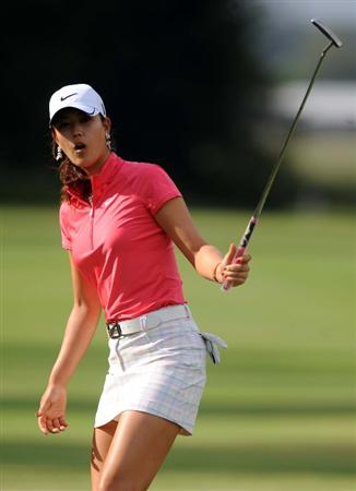 NORTH PLAINS, OR - AUGUST 28: Michelle Wie reacts to a missed birdie putt on the second hole during the first round of the Safeway Classic on August 28, 2009 at Pumpkin Ridge Golf Club in North Plains, Oregon. (Photo by Steve Dykes/Getty Images)