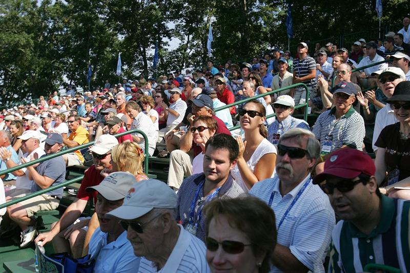 NORTON, MA - SEPTEMBER 05:  Fans follow the action during the second round of the Deutsche Bank Championship at TPC Boston held on September 5, 2009 in Norton, Massachusetts.  (Photo by Michael Cohen/Getty Images)