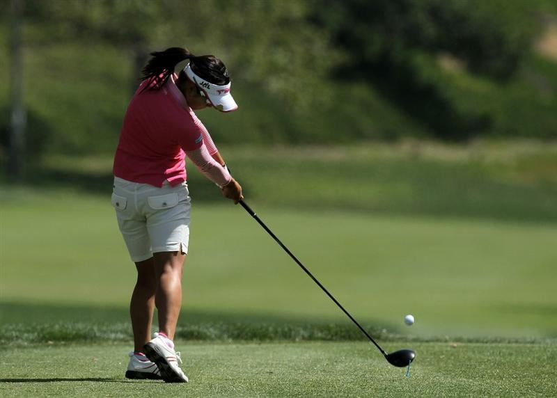 CARLSBAD, CA - MARCH 27: Ai Miyazato of Japan hits her tee shot on the third hole during the third round of the Kia Classic Presented by J Golf at La Costa Resort and Spa on March 27, 2010 in Carlsbad, California. (Photo by Stephen Dunn/Getty Images)