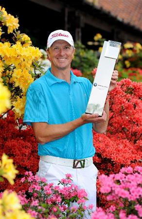 TURIN, ITALY - MAY 09:  Fredrik Andersson Hed of Sweden poses with the trophy after winning the BMW Italian Open at Royal Park I Roveri on May 9, 2010 in Turin, Italy.  (Photo by Stuart Franklin/Getty Images)