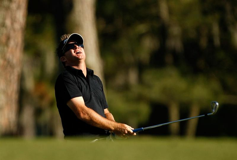 HILTON HEAD ISLAND, SC - APRIL 17:  Brian Gay reacts to a shot on the 16th hole during the second round of the Verizon Heritage at Harbour Town Golf Links on April 17, 2009 in Hilton Head Island, South Carolina.  (Photo by Streeter Lecka/Getty Images)