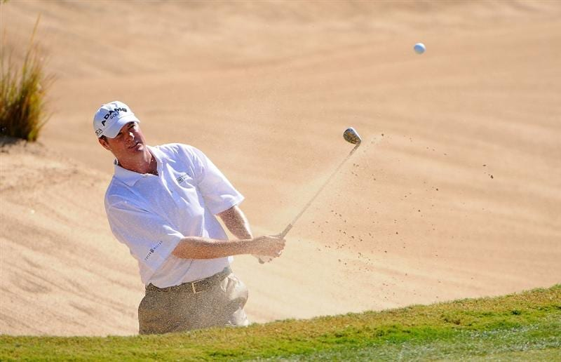 SCOTTSDALE AZ - OCTOBER 25: Brad Elder blasts out of the greenside bunker on the 3rd hole during the third round of  the Fry's.Com Open held at Grayhawk Golf Club on October 25, 2008 in Scottsdale, Arizona. (Photo by Marc Feldman/Getty Images)
