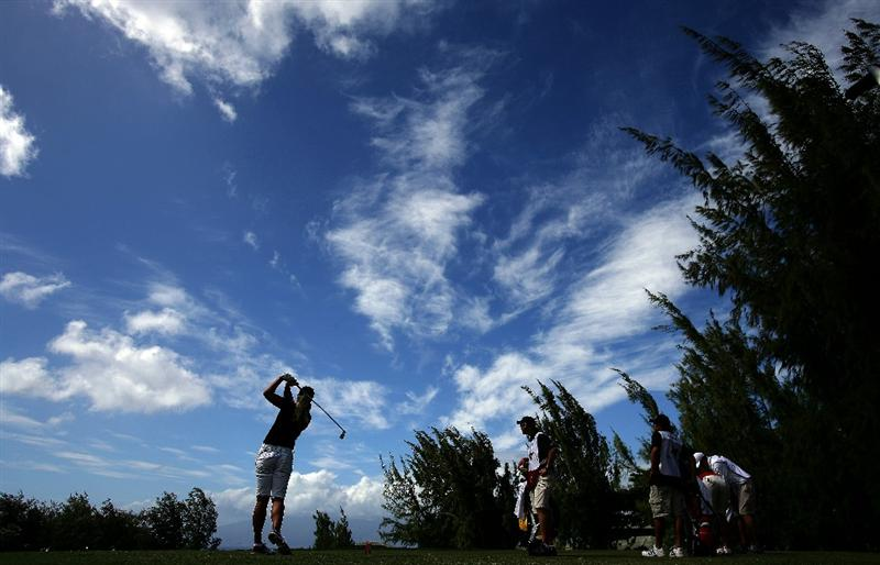 KAPALUA, HI - OCTOBER 18: Suzann Pettersen of Norway tees off during the third round of the Kapalua LPGA Classic on October 18, 2008 at the Bay Course in Kapalua, Maui, Hawaii. (Photo by Donald Miralle/Getty Images)