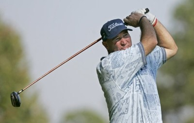 Duffy Waldorf hits his tee shot on the 11th hole during the first round of the Southern Farm Bureau Classic at Annandale Golf Club in Madison, Mississippi, on September 28, 2006. Photo by Hunter Martin/WireImage.com