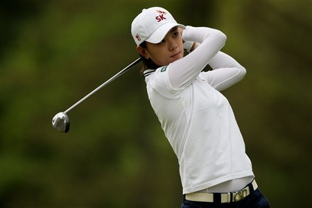 CLIFTON, NJ - MAY 18:  Na Yeon Choi of South Korea watches her tee shot on the 12th hole during the final round of the Sybase Classic presented by ShopRite on May 18, 2008 at the Upper Montclair Country Club in Clifton, New Jersey.  (Photo by Travis Lindquist/Getty Images)