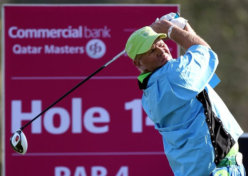 DOHA, QATAR - FEBRUARY 04:  John Daly of the USA  during the second round of the Commercialbank Qatar Masters at the Doha Golf Club on February 4, 2011 in Doha, Qatar.  (Photo by Ross Kinnaird/Getty Images)