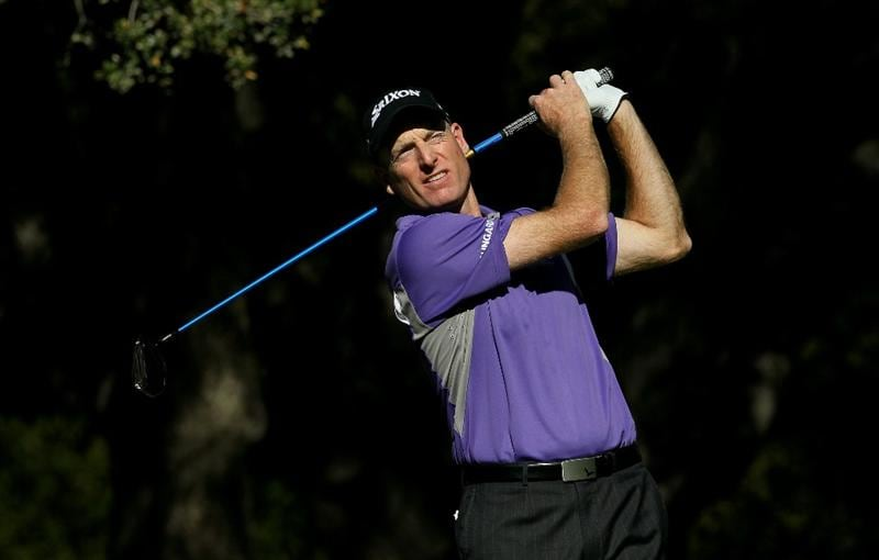THOUSAND OAKS, CA - DECEMBER 02:  Jim Furyk hits his tee shot on the sixth hole during the Chevron World Challenge at Sherwood Country Club on December 2, 2010 in Thousand Oaks, California.  (Photo by Stephen Dunn/Getty Images)