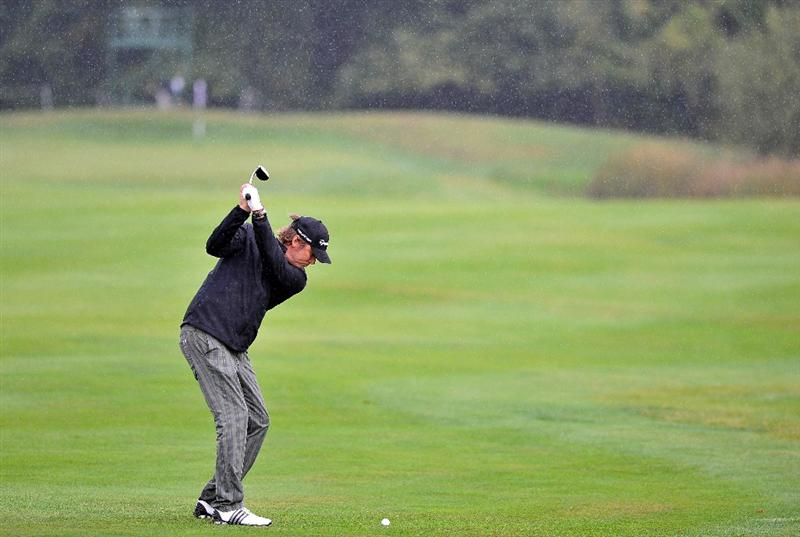 PARIS - SEPTEMBER 24:  Jarmo Sandelin of Sweden plays his second shot at the fourteenth hole during day two of the Vivendi cup at Joyenval Golf course on September 24, 2010 outside Paris, France.  (Photo by Pascal Le Segretain/Getty Images)