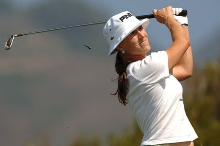 Patricia Meunier-Lebouc hits from the 11th tee during the second round of the 2005 Office Depot Championship at Trump National Golf Club Los Angeles in Rancho Palos Verdes, California October 1, 2005.Photo by Steve Grayson/WireImage.com
