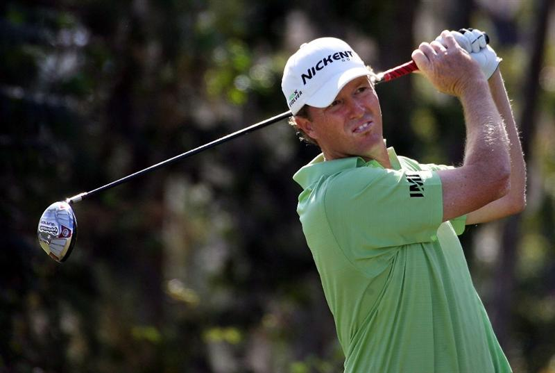 LAKE BUENA VISTA, FL - NOVEMBER 9:  Tim Petrovic  tees off on the fourth hole, during the final round at the Children's Miracle Network Classic at Disney Magnolia golf course November 9, 2008 in Lake Buena Vista, Florida. (Photo by Marc Serota/Getty Images)