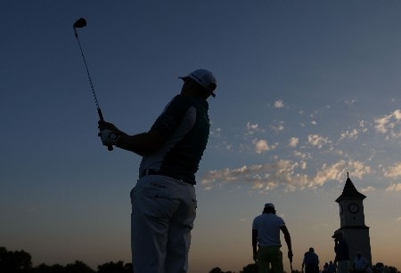 TULSA, OK - AUGUST 10:  Graeme Storm of England watches a shot on the practice ground during the second round of the 89th PGA Championship at the Southern Hills Country Club on August 10, 2007 in Tulsa, Oklahoma.  (Photo by Jamie Squire/Getty Images)