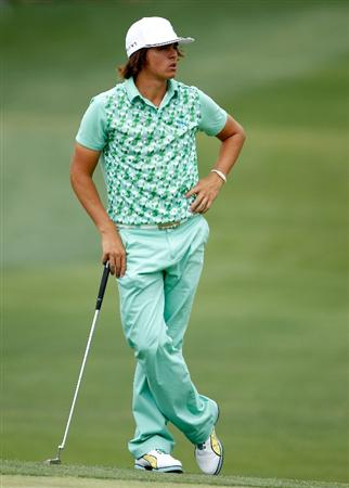 CHARLOTTE, NC - MAY 01:  Rickie Fowler waits on the 18th green during the third round of the 2010 Quail Hollow Championship at the Quail Hollow Club on May 1, 2010 in Charlotte, North Carolina.  (Photo by Scott Halleran/Getty Images)