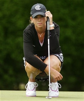 CORNING, NY - MAY 24:  Erica Blasberg reads the green before putting for eagle on the third hole during the third round of the LPGA Corning Classic at Corning Country Club on May 24, 2008 in Corning, New York.  (Photo by Kyle Auclair/Getty Images)